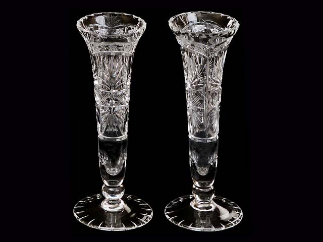 A Pair Of Cut Glass Bud Vases