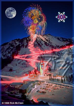 ABOUT THE IMAGE and THE PHOTOGRAPHER - Originally from Texas, but too much a skier to remain there, Rick McClain relocated to Utah over twenty five years ago and has been skiing Alta and creating photographic images ever since.    Most pictures of Alta¹s Torchlight Parade,  while showing the fireworks and torches,  were too  dark  to show  the mountain  itself.   Rick wanted to capture Alf¹s High Rustler, Eagle¹s Nest, Regal Chute, Stone Crusher, Lone Pine, Jitterbug and all  the other runs.  He felt it was important for  people to be able to see every mogul, every detail and to be able to show their friends where they skied! For all this to happen, he needed perfect lighting, a full moon and a clear  night. He had to wait several ski seasons for all of these  things  to coincide.   New Year¹s Eve  of  Alta¹s  50th  Anniversary, 1988-89  ski season   was  the  right  time.....and  it  happened to be a Blue Moon that night, too!  With  that  in mind, he trudged  up  the  mountain  with his large format camera in his pack and his hefty tripod over his shoulder to create this image.    Mr. McClain  can  be contacted  about  this image,  other stock  images,  and commercial  photography  at the contact link below.